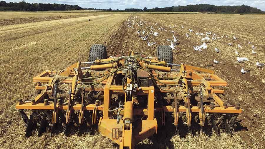 Barley stubble is disced