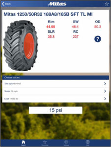 A screenshot from the Mitas smartphone app which advises on tyre pressure. The shot shows a picture of a tyre plus information on tyre pressure