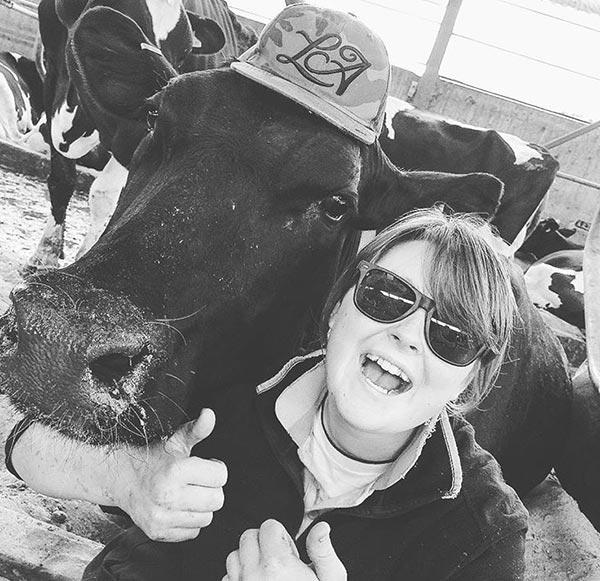 Hannah Falcon with cow