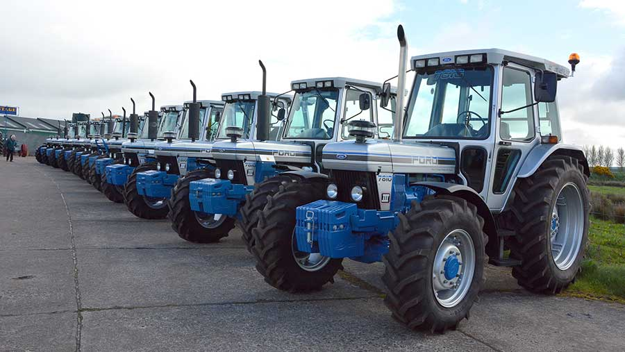 A row of Ford tractors