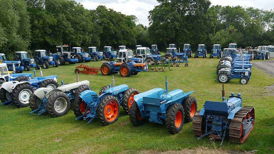 Ford tractors collection in field