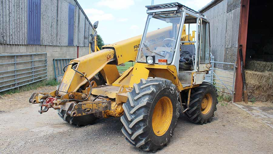 JCB Loadall with carriage hitch attachment