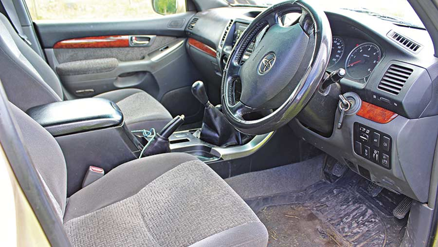 The interior of the Land Cruiser