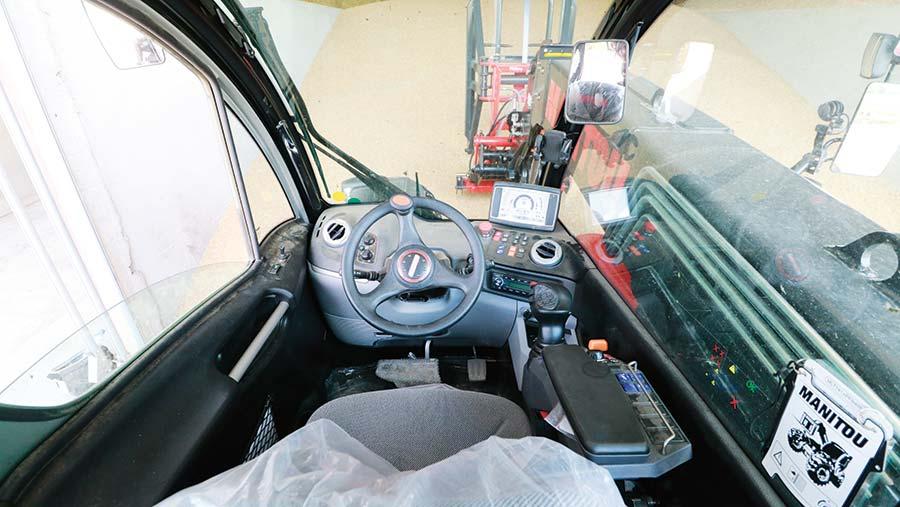 Cab of Manitou telehandler