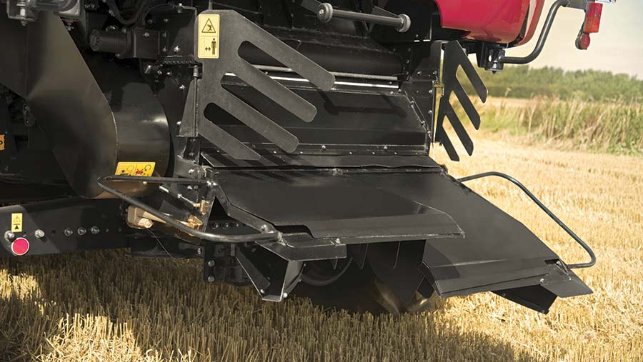 The rear of a Case IH combine