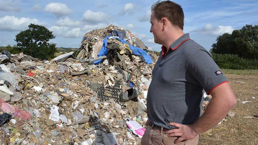 Rubbish dumped on farm