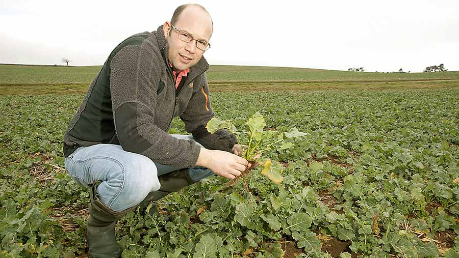 Jake Freestone squats in a field of oilseed rape
