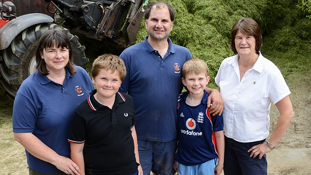 James Robinson (centre) with his wife Michelle (far left) and sons Robert and Chris, and Germinal's Helen Mathieu (far right)