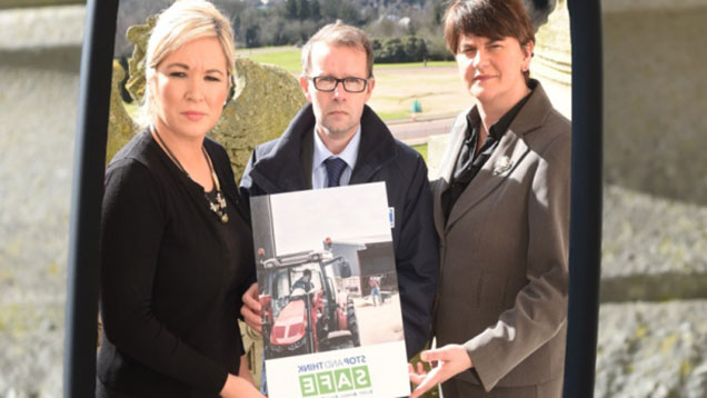 NI agriculture minister Michelle O'Neill (left), SENI chief executive Keith Morrison and Health and Safety Minister Arlene Foster.