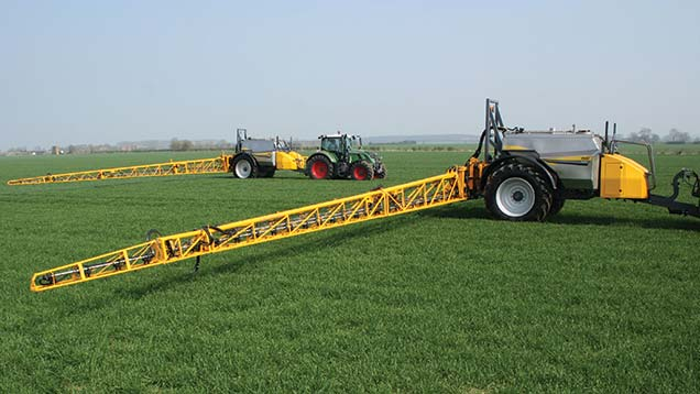 Second-generation Chafer Guardian (foreground) and larger Sentry trailed sprayers can work wider and faster than their predecessors.