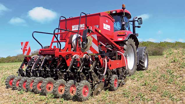A new coulter design with discs set at 25deg from vertical to lift a slice of soil features on the Weaving GD mounted and trailed drills.