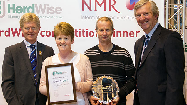 Robert and Bryony Symms with RABDF president Prof David Leaver (left), NMR chairman Philip Kirkham