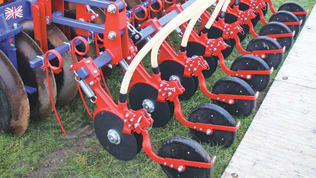 Seeding units available from tillage equipment maker Philip Watkins for subsoilers and cultivators.
