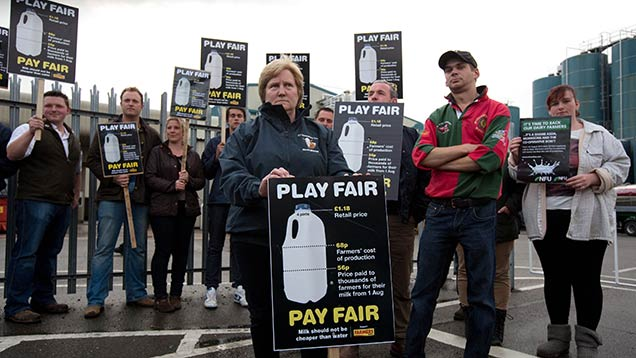 Farmers protest about low milk prices in 2012 © Tim Scrivener