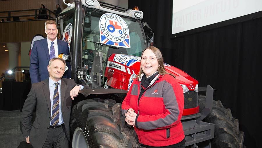 Left to right: Jim Moseley Assured Food Standards chairman, Andrew Blenkiron vice-chairman, Lindsay Haddon Massey Ferguson marketing manager with the branded tractor. © Tim Scrivener