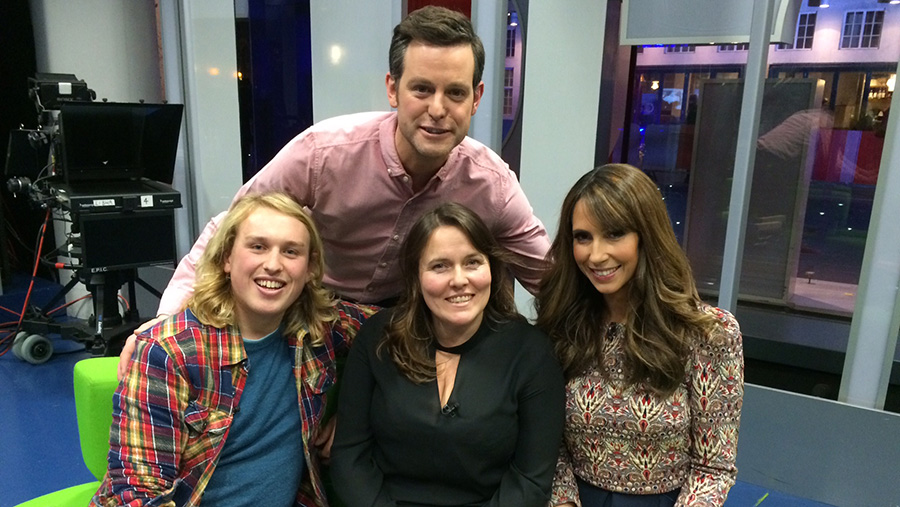 Deano Macmillan and his mum Susie with The One Show's presenters Matt Baker and Alex Jones.
