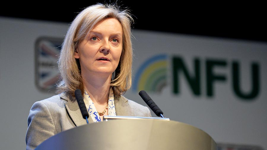 Liz Truss speaking at the NFU conference 2016 © NFU