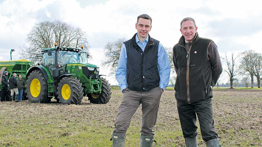Farm manager Peter Cartwright (left) and agronomist Richard Butler