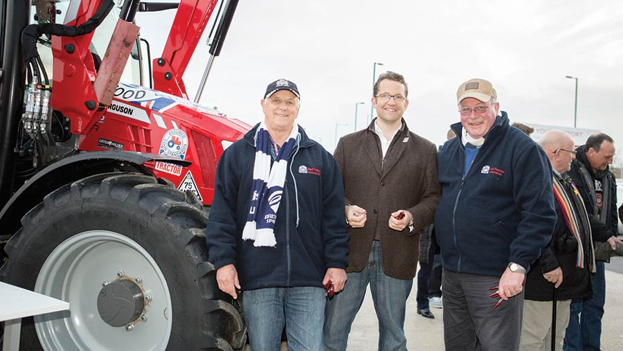 Livestock farmer John Hore with Thornbury NFU Mutual branch manager Jason Cavill and chicken producer Charles Bourns