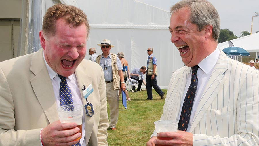 CLA president Ross Murray pictured with UKIP leader Nigel Farage at the Game Fair event. © Tim Scrivener/REX/Shutterstock