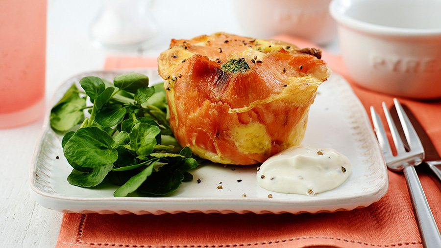 Smoked salmon egg pots, spinach and egg roulade are one of the recipes in the British Egg Industry Council's new booklet.