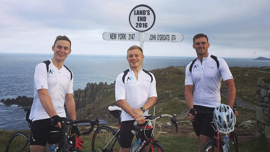 Harry, Tomos and Stephen (left to right) cycled through 15 counties