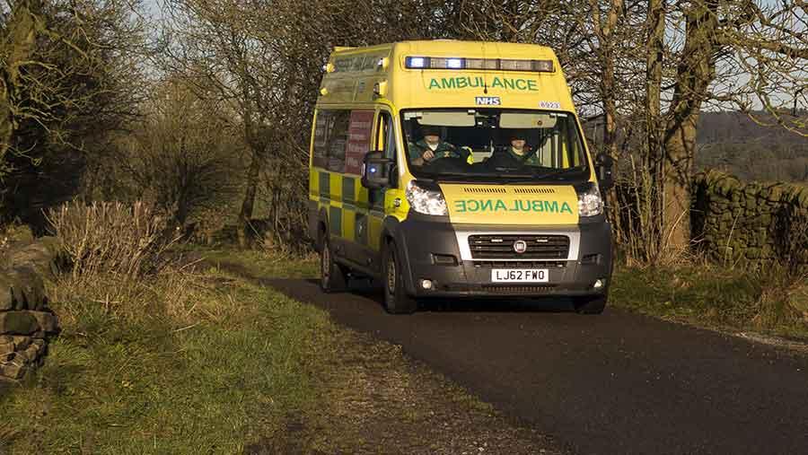 ambulance on rural road