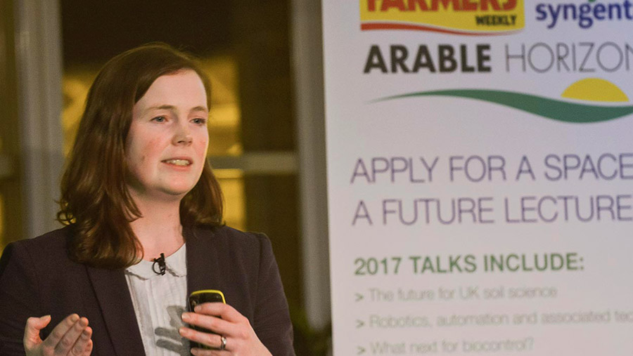 Dr Alison Bentley of Niab delivers a lecture at the Arable Horizons event