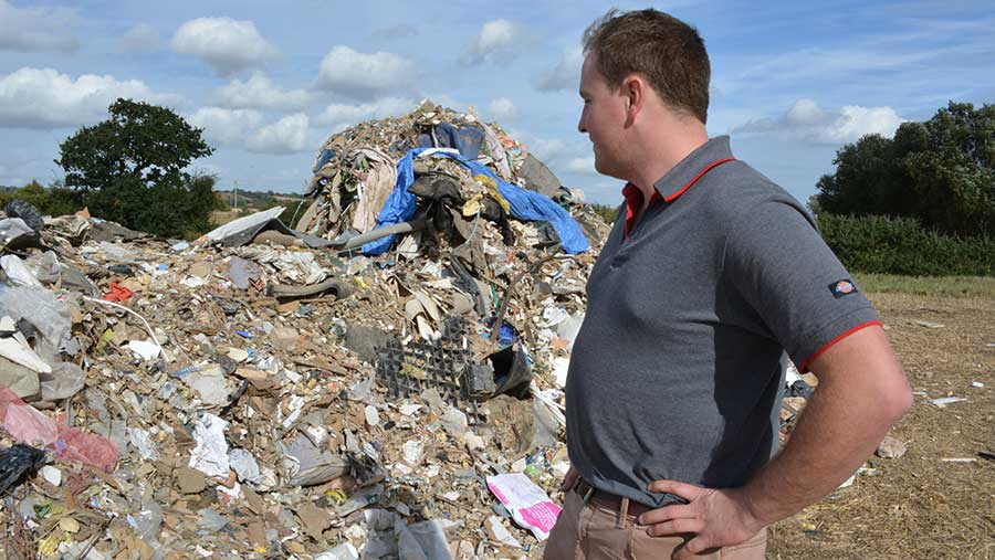 Fly tipping on Ed Ford's farm