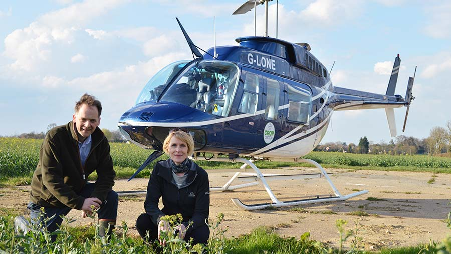 Adas' Jonathan Blake and SRUC's Fiona Burnett with the Crop Doctor helicopter © David Jones/RBI