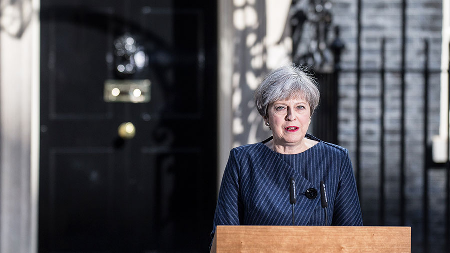 Theresa May makes the general election announcement at Downing Street © James Gourley/REX/Shutterstock