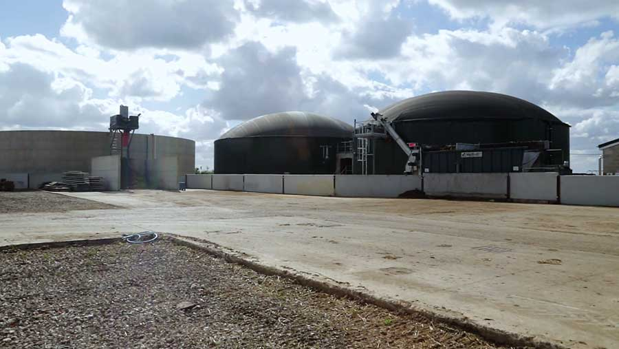 The 500kW AD plant is fed with waste food, bedding and manure mainly