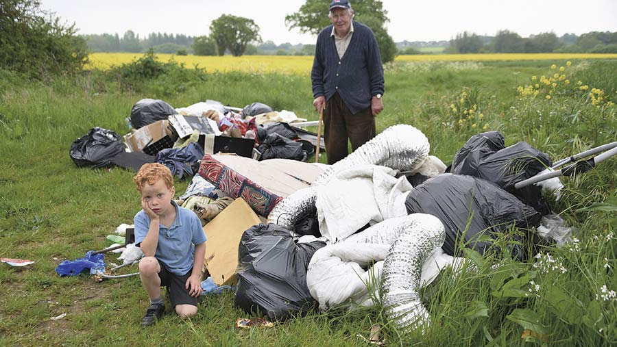 Sheep farmer David Cross saw household rubbish including nappies dumped on his farm © Eastern Daily Press