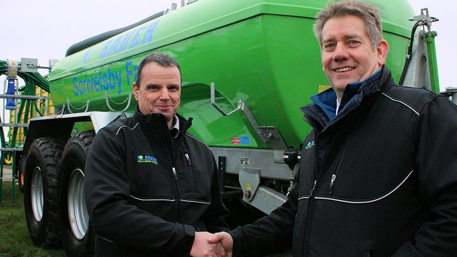 Samagri owner Steve Berry shakes hands with Bauer's Rob Jackson