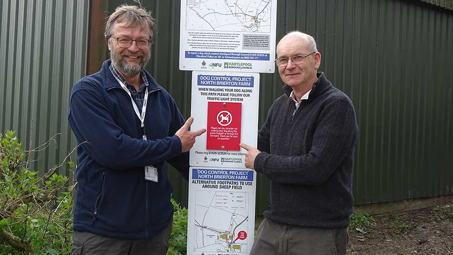 Chris Scaife (left) and Rob Brown (right) with the signs