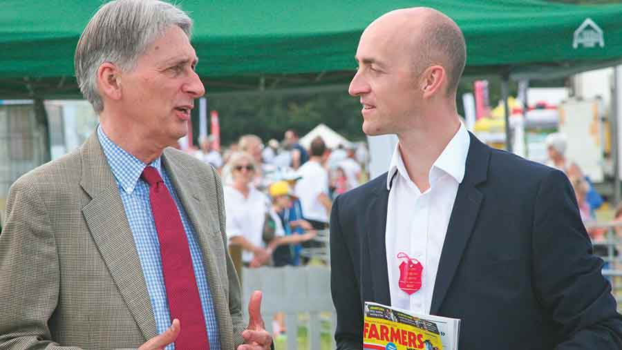 Phillip Hammond (left) with Farmers Weekly's Philip Case