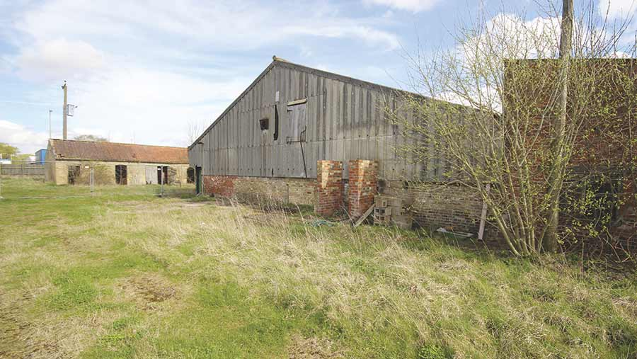 10 acres of arable land and buildings at Market Rasen