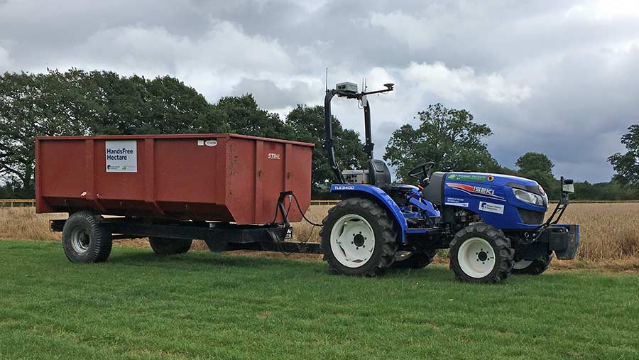 Driverless tractor on the Hands Free Hectare