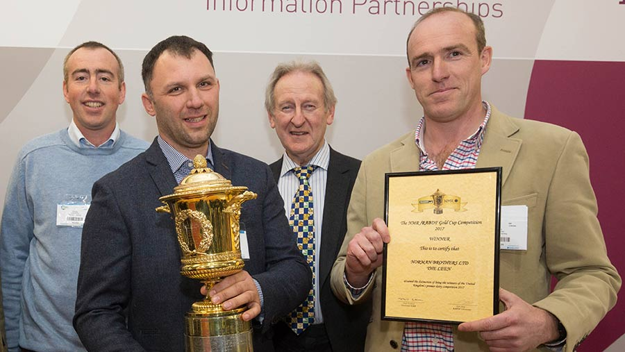 From left to right: Chris Norman, dairy manager Krisztian Takacs, Lord Curry and Rich Norman  © Tim Scrivener