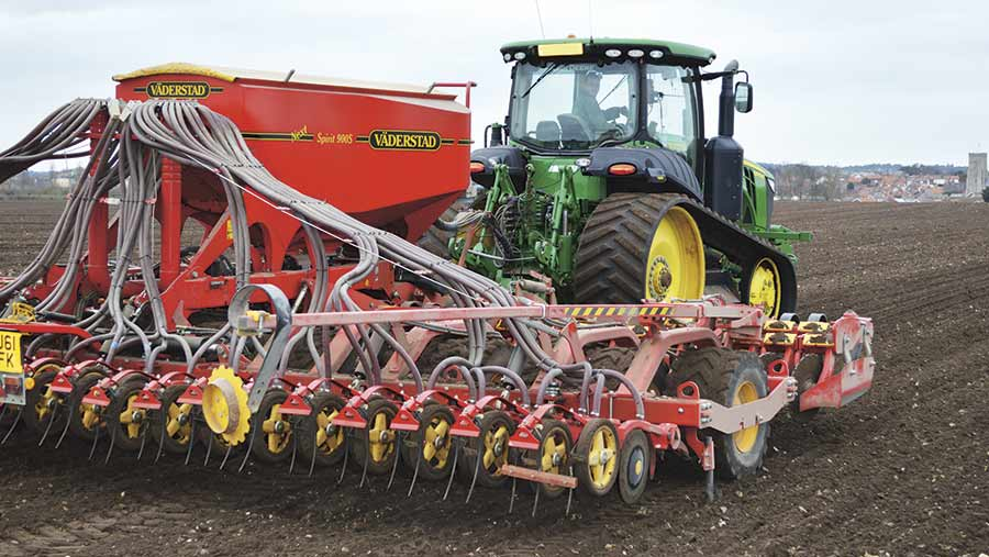 Drilling spring barley.