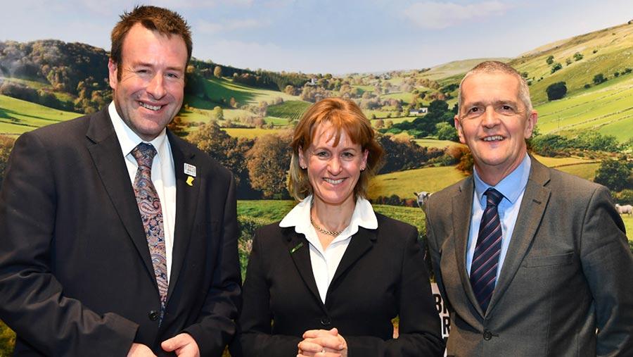 ©NFU The new NFU leadership team, left to right: vice-president Stuart Roberts, president Minette Batters, deputy president Guy Smith