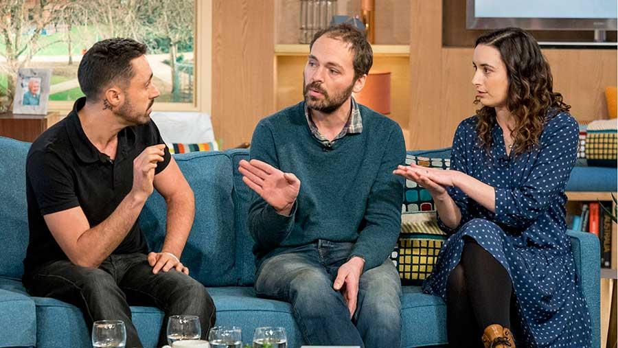 Jonny and Dulcie Crickland debated vegan activist Joey Carbstrong (left) © Steve Meddle/ ITV/REX/ Shutterstock