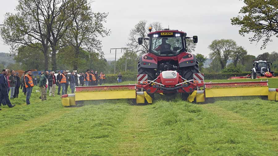 Machinery demo at Royal Welsh Grassland Event