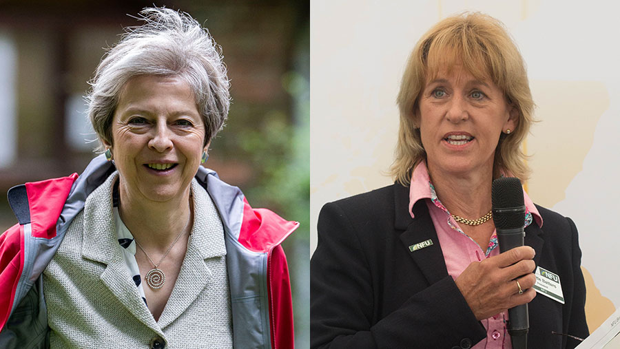 Theresa May (left) and Minette Batters © DAVID HARTLEY/REX/Shutterstock and © Tim Scrivener