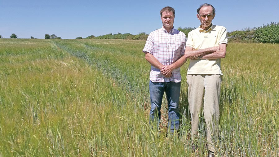 Michael Parry (right) with his farm manager, Jim Organ