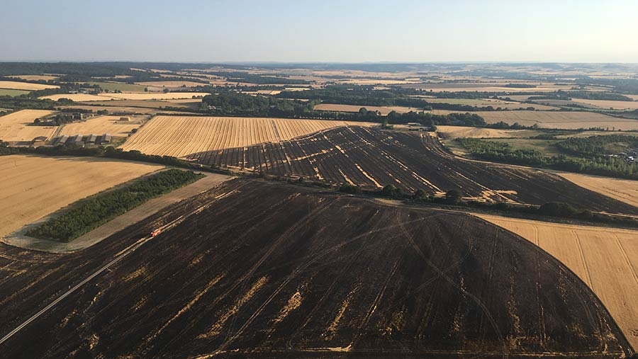 Aerial view of the Ewelme fire © Oxfordshire Fire and Rescue Service