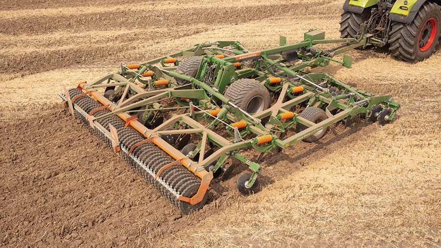 Aerial view of cultivator in field