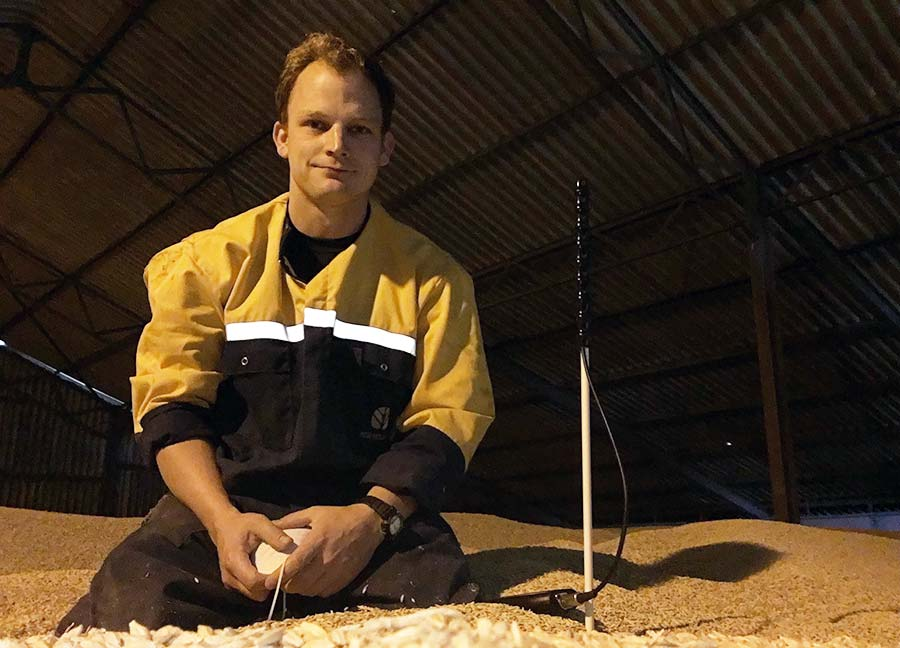 Will Sargent checking temperatures in his grain store
