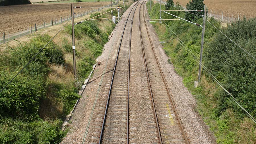 Railway line and embankments, through arable farmland © FLPA/REX/Shutterstock