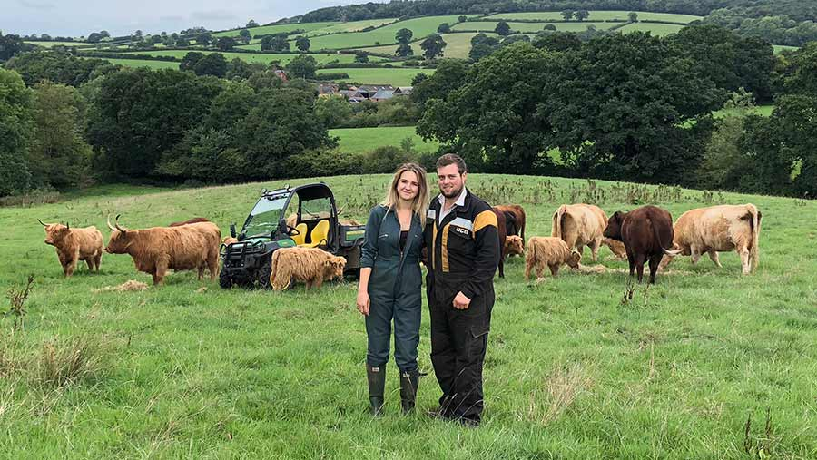 Amelia Millman and Jason Greenway with their cattle © Oli Hill/RBI